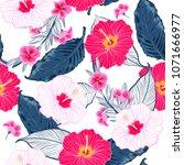 trendy seamless vector floral... | Shutterstock .eps vector #1071666977