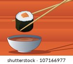 sushi dipping in soy sauce | Shutterstock .eps vector #107166977