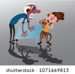 a supervisor yelling at a... | Shutterstock .eps vector #1071669815