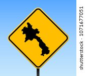 laos map road sign. square... | Shutterstock .eps vector #1071677051