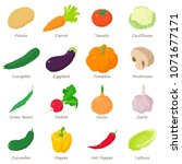 vegetables signed names icons... | Shutterstock .eps vector #1071677171