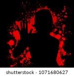 no war. stop terror. bloody... | Shutterstock .eps vector #1071680627
