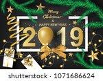 paper art of merry christmas... | Shutterstock .eps vector #1071686624