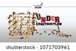 under construction page  vector ... | Shutterstock .eps vector #1071703961