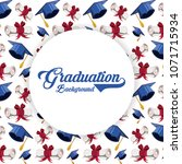 graduation card with hat and... | Shutterstock .eps vector #1071715934