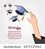 graduation card with hat icon | Shutterstock .eps vector #1071715961