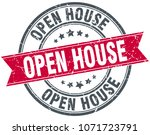 open house round grunge ribbon... | Shutterstock .eps vector #1071723791