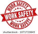 work safety round grunge ribbon ... | Shutterstock .eps vector #1071723845