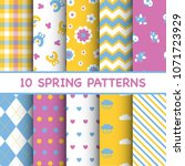 set of colorful spring patterns | Shutterstock .eps vector #1071723929