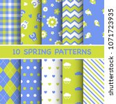 set of colorful spring patterns | Shutterstock .eps vector #1071723935