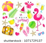 set of cute summer elements.... | Shutterstock .eps vector #1071729137
