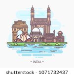 banner or sign with indian... | Shutterstock .eps vector #1071732437