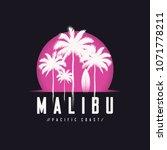 malibu pacific coast tee print...   Shutterstock .eps vector #1071778211