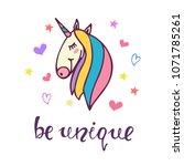 be unique inspirational slogan... | Shutterstock .eps vector #1071785261