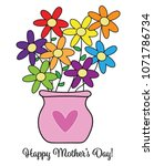 happy mothers day flowers | Shutterstock .eps vector #1071786734