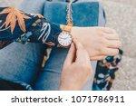 street style fashion details.... | Shutterstock . vector #1071786911