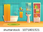 vector bathroom interior  room... | Shutterstock .eps vector #1071801521