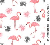 seamless pattern with flamingo... | Shutterstock .eps vector #1071807884
