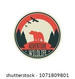 modern shield forest camp badge.... | Shutterstock .eps vector #1071809801