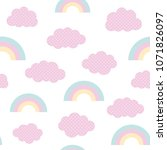 cute clouds and rainbow... | Shutterstock .eps vector #1071826097