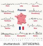 vector outline icons of france... | Shutterstock .eps vector #1071826961