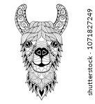 llama alpaca mandala zentangle...   Shutterstock .eps vector #1071827249