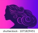 beautiful girl with long thick... | Shutterstock . vector #1071829451