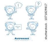 set of astronaut characters.... | Shutterstock .eps vector #1071829817