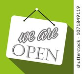 sign saying we are open on... | Shutterstock .eps vector #1071849119