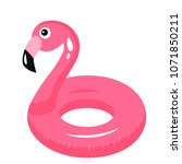 flamingo inflatable pool float. ... | Shutterstock .eps vector #1071850211