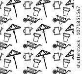 line handcart with watering can ... | Shutterstock .eps vector #1071851567