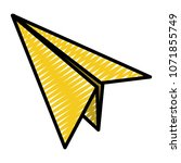 doodle paper airplane fly... | Shutterstock .eps vector #1071855749