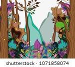 beautiful forest scenery | Shutterstock .eps vector #1071858074