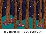 beautiful forest at night | Shutterstock .eps vector #1071859379