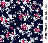seamless pattern with  flowers. ... | Shutterstock .eps vector #1071870461