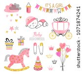 baby shower girl set.... | Shutterstock .eps vector #1071874241