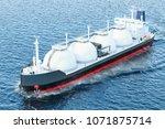 gas tanker sailing in ocean  3d ... | Shutterstock . vector #1071875714