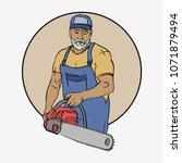 cartoon character woodcutter ... | Shutterstock .eps vector #1071879494