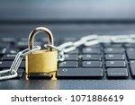 padlock on computer keyboard....   Shutterstock . vector #1071886619