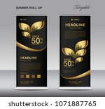 black and gold roll up banner... | Shutterstock .eps vector #1071887765