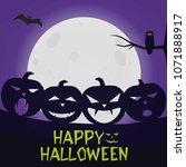 happy halloween pumpkins... | Shutterstock .eps vector #1071888917