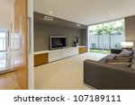 luxurious media room with tv...   Shutterstock . vector #107189111