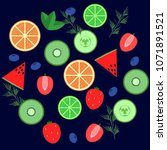 set of fruits isolated on...   Shutterstock .eps vector #1071891521