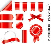 red ribbons  flag and labels... | Shutterstock .eps vector #1071892184