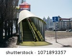 the pedestrian overpass is...   Shutterstock . vector #1071893357