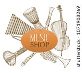 musical instruments composition.... | Shutterstock .eps vector #1071903269