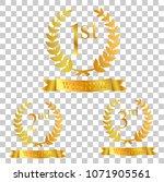 golden laurel  ribbon  first ... | Shutterstock .eps vector #1071905561