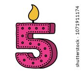 birthday candle with number five | Shutterstock .eps vector #1071911174