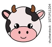 cute and little cow head... | Shutterstock .eps vector #1071911204