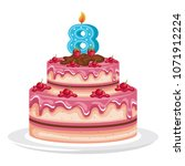 delicious cake with candle... | Shutterstock .eps vector #1071912224